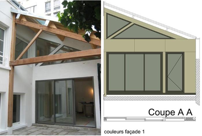 Surélévation d'une maison de ville, Paris XXe : 4-12-2010-SAP-façade cour