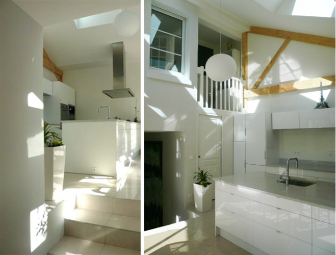 Surélévation d'une maison de ville, Paris XXe : 5-12-2010-SAP-vue intérieure 1