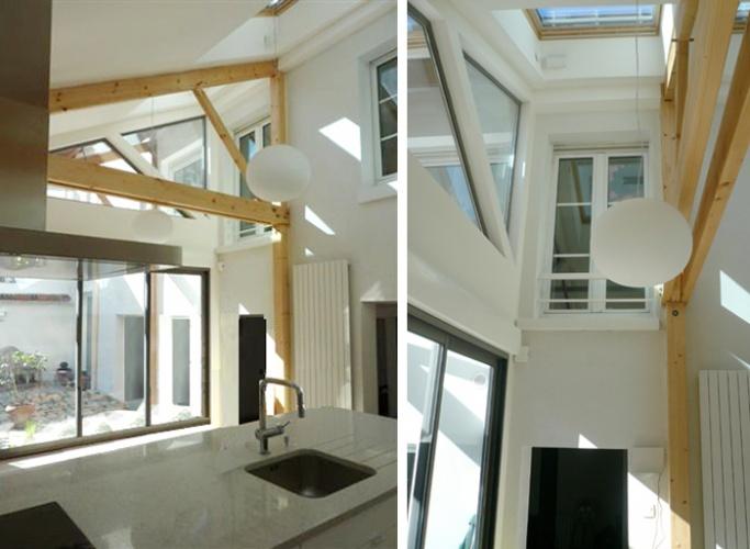 Surélévation d'une maison de ville, Paris XXe : 6-12-2010-SAP-vue intérieure 2
