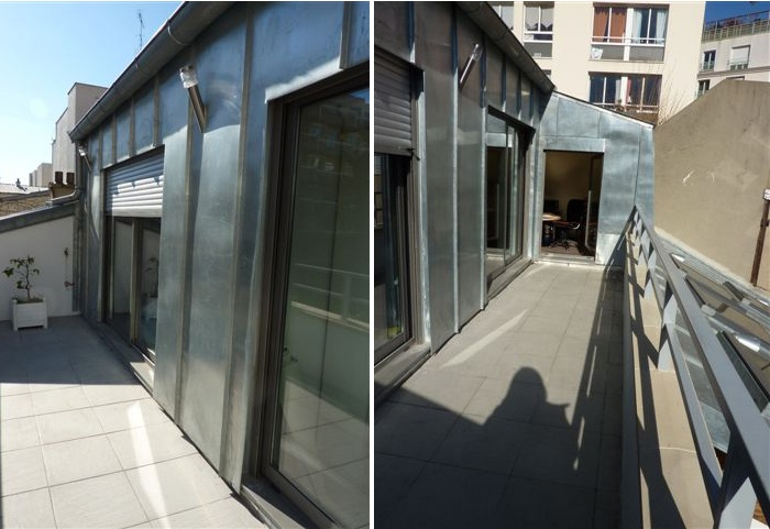 Surélévation d'une maison de ville, Paris XXe : 7-12-2010-SAP- terrasse