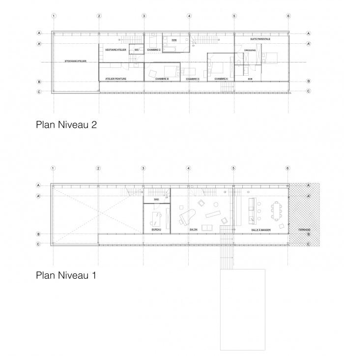 Maison - Atelier : Plan niveau 1 et 2