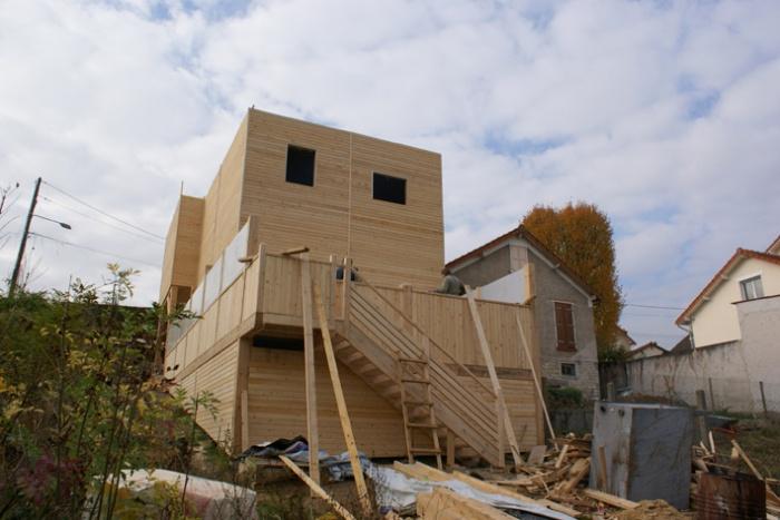 Maison bois en Autoconstruction (77) : Façade Est