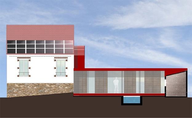 Extension d'un maison des années 1930 (77) : Façade Sud (patio)