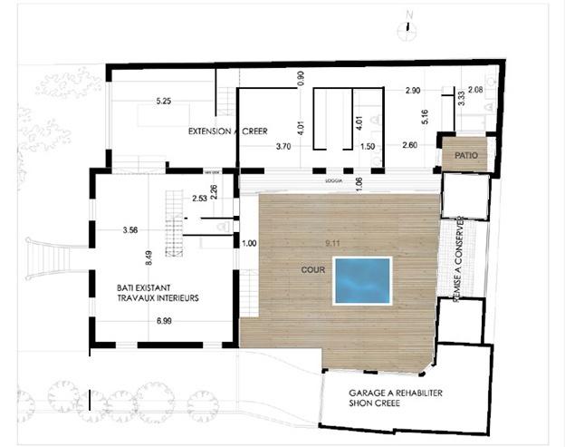 Extension d'un maison des années 1930 (77) : Plan