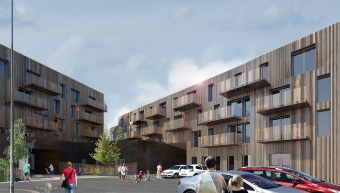Bâtiment mixte de 71 logements, commerces et bureaux : VUE DEPUIS LE COEUR D'ILOT
